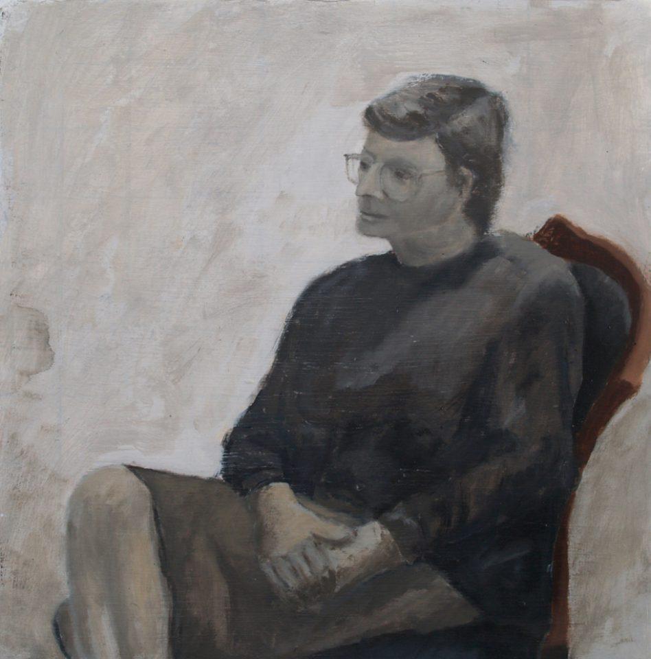 """Lucie 1990"" olie/paneel 40x40 cm. 2015"