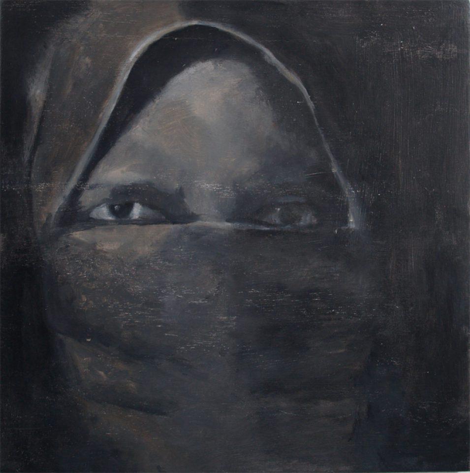 """Yasmine, Soedanese vrouw"" olie/paneel 40x40 cm. 2015"