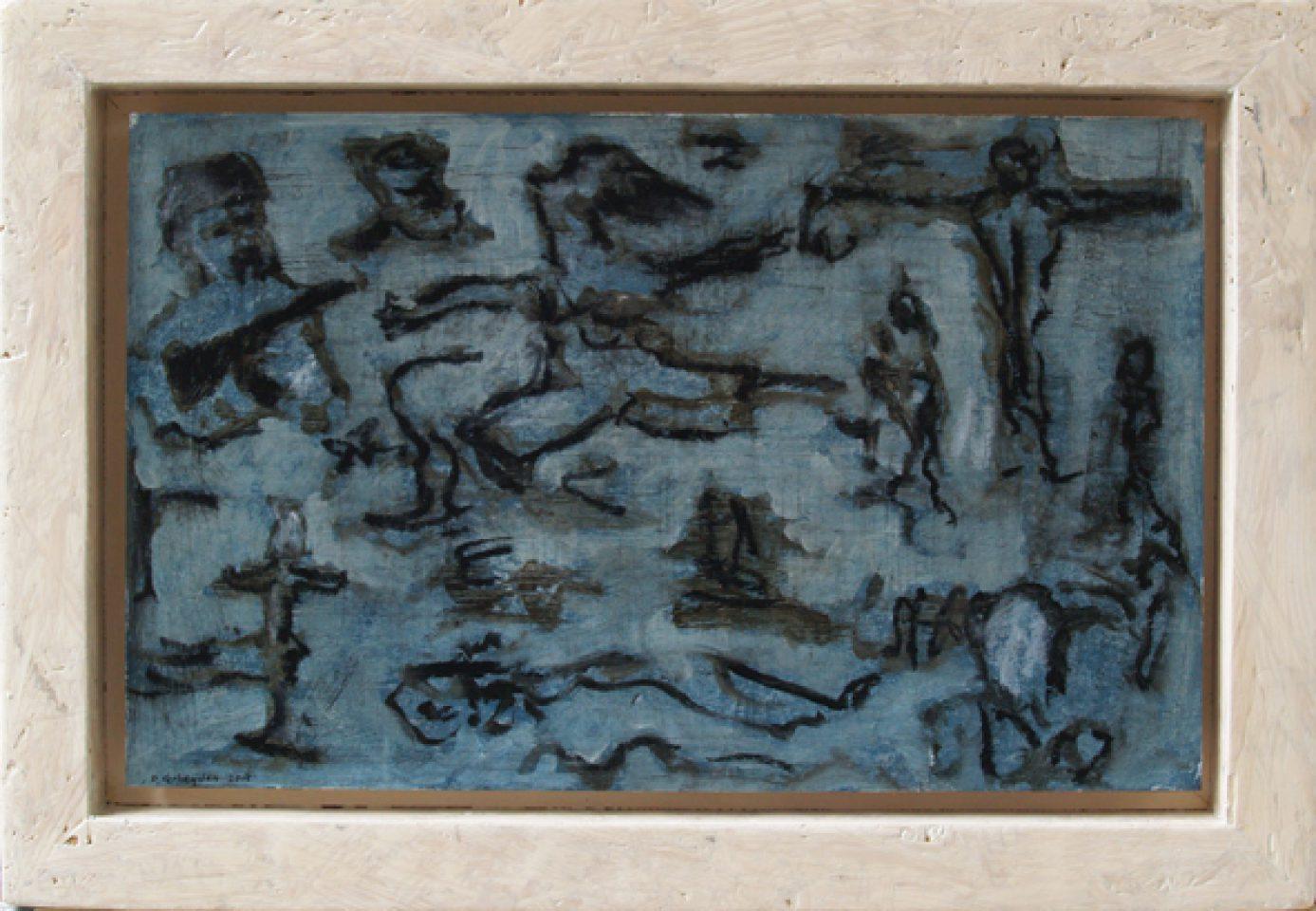 """""""notities zonder titel (studie voor de verschrikkingen van de oorlog)"""" olie/papier/paneel 27x40 cm. 2015"""