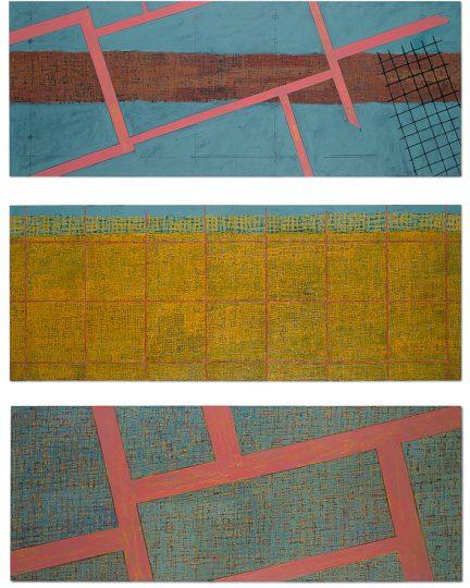 """""""Sjerfkes"""" project naar aanleiding van een pottenbakkersvondst in Tegelen. alkyd/ paneel. drieluik 320x244 cm. 2003"""