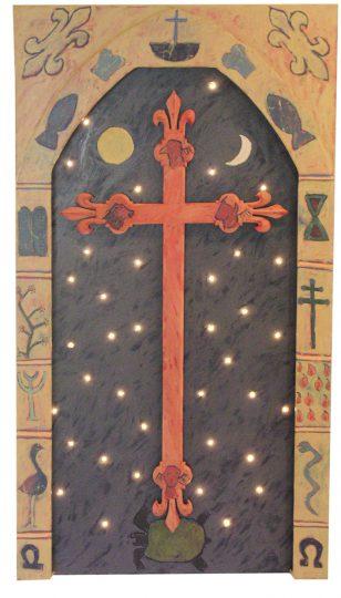 Wandkruis voor de Edith Steinkapel in Nieuw Bergen Olie/paneel en led-verlichting 171x94x9 cm. 2000