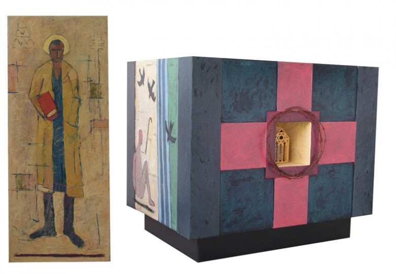 Altaar en Ambo voor de Edith Steinkapel in Nieuw Bergen Olie en alkyd/paneel 100x115x90 cm en 120x50x45 cm. 2005