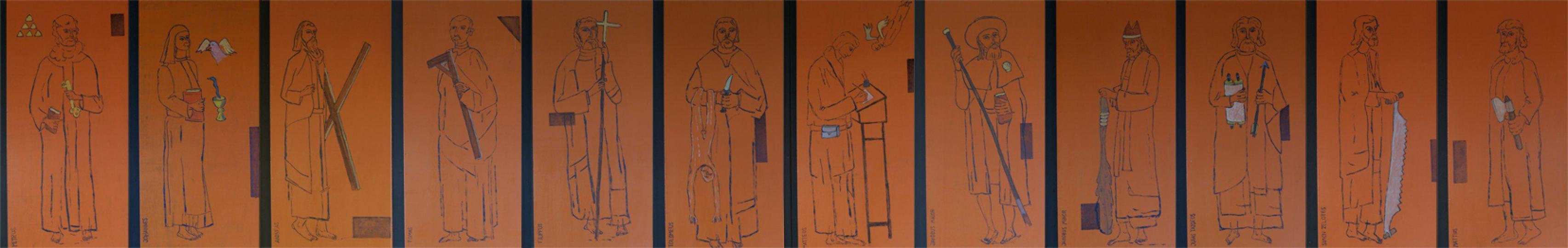 tekeningen van de 12 apostelen Edith Steinkapel Nieuw Bergen olie en etsinkt/paneel 110x720 cm. 2013
