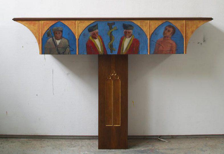 """""""Predella"""" voor de Antonius Abt kapel Heukelom (NL) olie/hout 200x137x40 cm. 2012"""