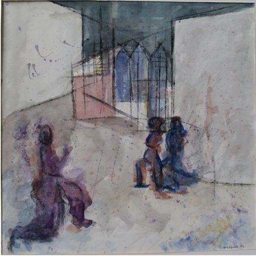 """""""Theater"""" aquarel/papier 47,5x47 cm 1982"""