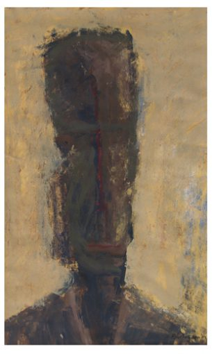 """""""de Filosoof"""" gouache/papier 56x35 cm 1985"""
