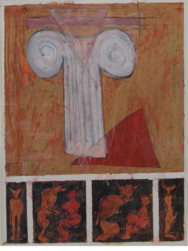 """""""Notitie voor Taurus"""" acryl/papier 60x45 cm 1990"""