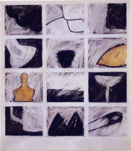 """""""Notities zonder titel"""" houtskool en blanke lak/papier 50x45 cm. 1995"""