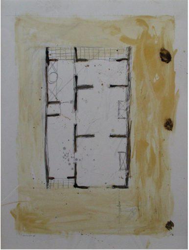 """Zonder titel, plattegrond"" potlood,beits en vernis/papier 80x60 cm 2002"