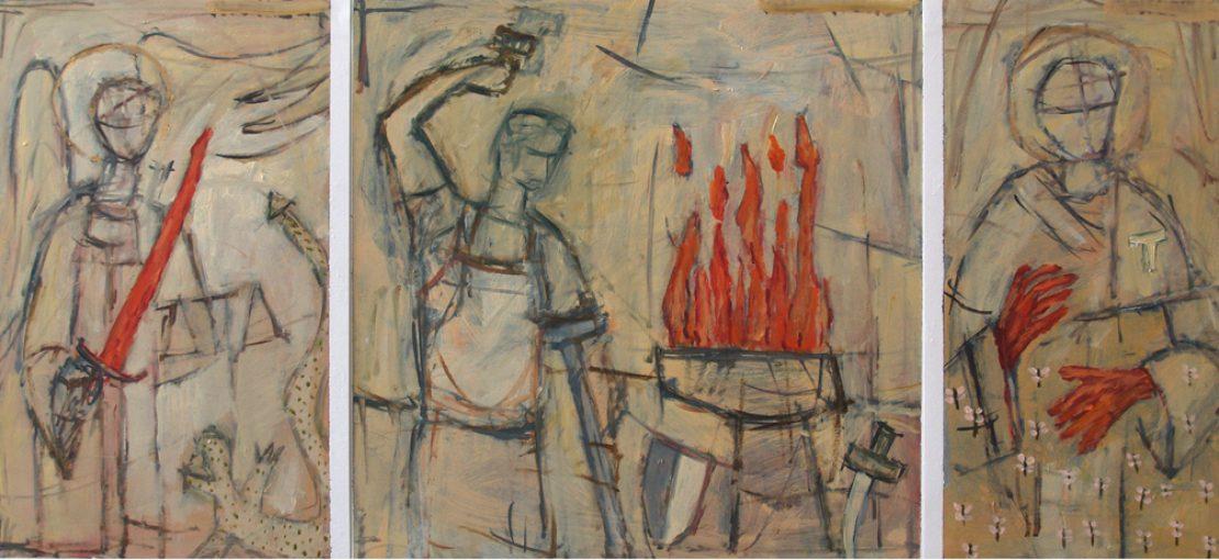 """""""Studie voor vuur"""" acryl en alkyd/papier 45x27,5; 45x45; 45x22,5 cm 2008 Gemeentemuseum Land van Thorn"""