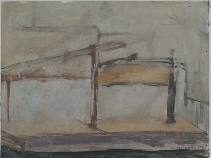 """""""Studie voor mikwe/opslag 4"""" acryl en alkyd/papier 22,5x30 cm 2008"""
