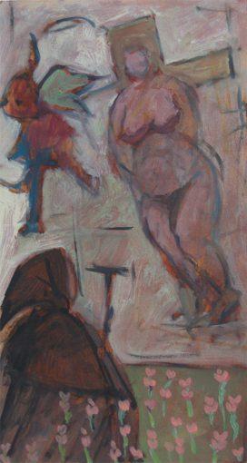 """""""Antonius abt, studie voor de verzoeking""""alkyd/papier 39x21 cm2009"""