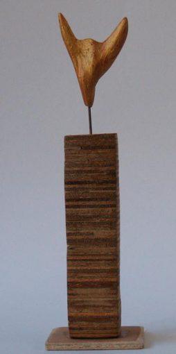 """Zonder titel"" olie, hout en ijzer 22x6,5x6,5 cm. 1985"
