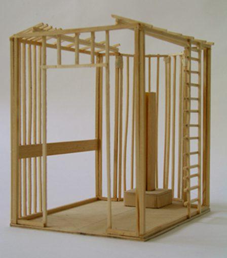 """Studie voor schippersbruid"" hout, plakband en lak 21x17x21 cm. 2002"