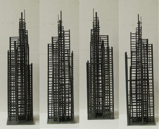 """""""Studie voor Gerüstbau"""" hout en alkydlak 24,5x22,5x102 cm. 2006"""