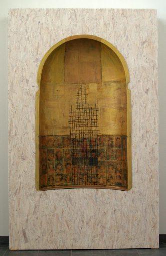 """""""De Nis"""" alkyd+beits/ polyester en hout 222x138x26 cm. 2007 Hospice """"Mariaweide"""" te Venlo"""