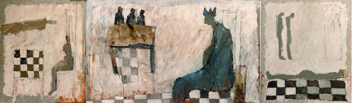 """""""Uit het leven van de koning"""" olie+collage/paneel 364x110cm. 1983 (particuliere collectie)"""
