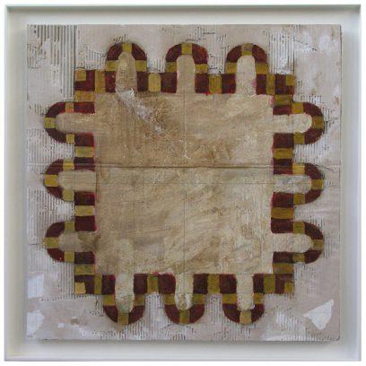 """Grundriß 03"" alkyd+olie/karton/paneel 85,5x85,5 cm. 2004"