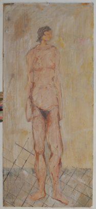 """Studie voor ritueel 1"" alkyd/paneel 143x67 cm 2009 (Limburgs Museum)"