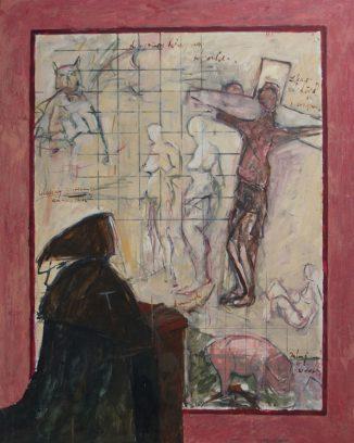"""""""Antonius Abt, de verzoeking"""" alkyd/paneel 124,5x100 cm"""