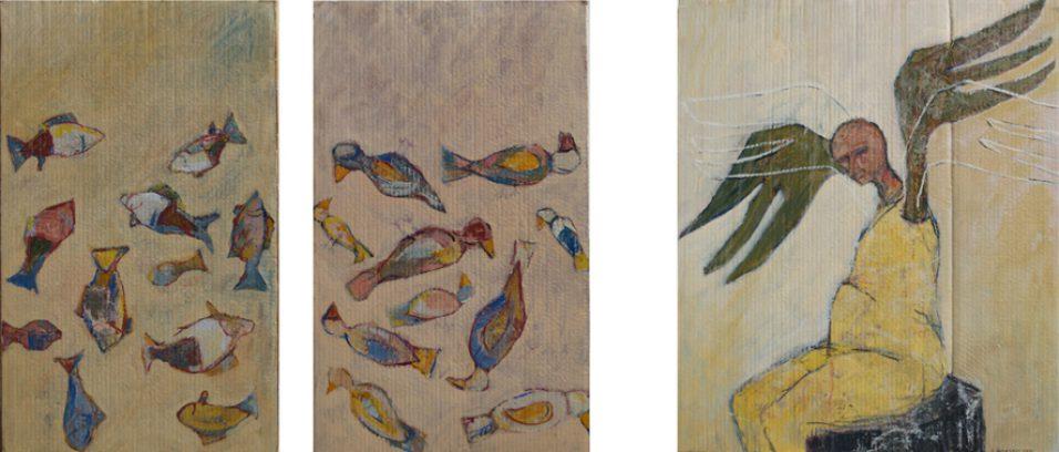 """""""De vissen, de vogels en de oude man"""" alkyd/karton/paneel 80,5x49cm; 80,5x49cm; 80,5x69cm drieluik 2010"""