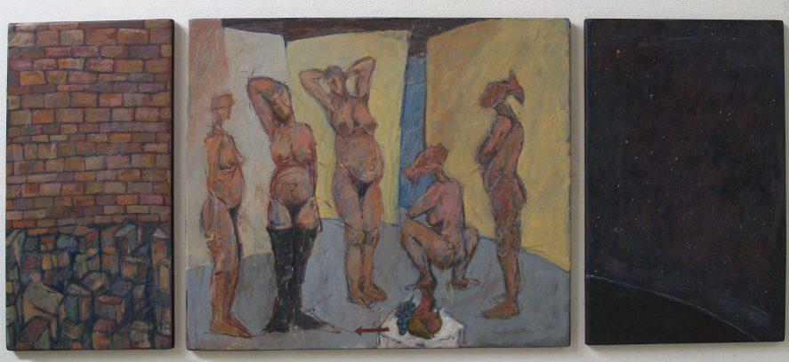 """""""De stenen, de vrouwen en de sterren"""" alkyd+olie/paneel 80x200cm. drieluik 2012"""