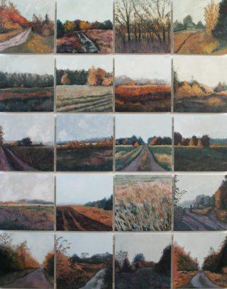 """Venlose heide, oktober 172"" olie/20panelen 207,5x164,5 cm 2014"