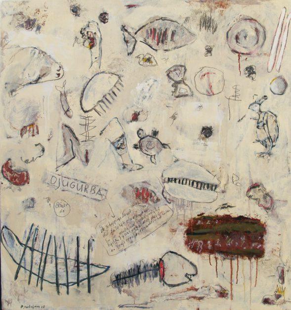 """Djugurba"" uit de serie: ""Ars Moriendi 2"" - olie, oliekrijt en potlood / paneel. 80x75 cm.  2018"
