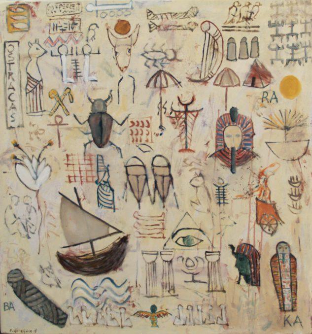 """""""Ostracas"""" uit de serie: """"Ars Moriendi 2"""" -olie, oliekrijt en potlood / paneel 80x75 cm. 2018"""