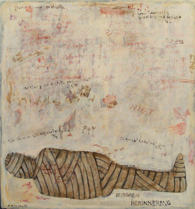 """""""Bevroren herinnering"""" uit de serie: """"Ars Moriendi 2"""" - olie, oliekrijt en potlood / paneel 80x75 cm. 2018"""