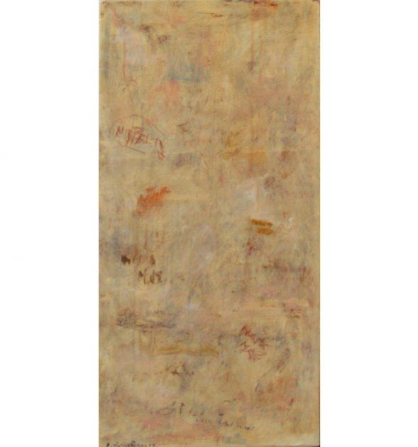 """""""Geen titel meer"""" uit de serie: """"Ars Moriendi 2"""" - olie, oliekrijt en potlood / paneel 80x37,5 cm. 2018"""