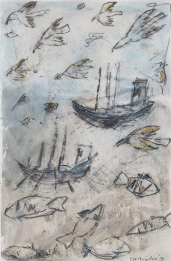 """tekening zonder titel"" potlood +aquarel/papier 20x13 cm 2016"