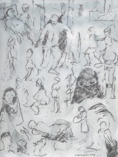 """dagboektekening"" potlood+aquarel/papier 30x24 cm. 2017 (particuliere coll.)"