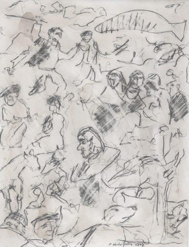 """""""Hommage aan Goya"""" potlood + aquarel/papier 30x24 cm 2017 (particuliere coll.)"""