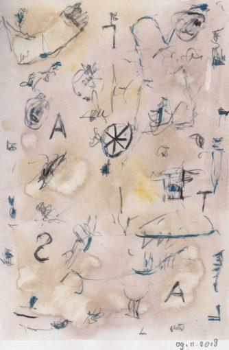 """dagboektekening 09-11-2018"" potlood + aquarel + potlood/papier 20x13 cm. 2018"