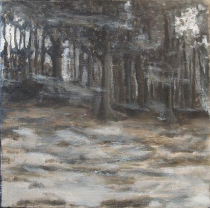 """Zuglandschaft04"" olie/doek 40x40 cm. 2015"
