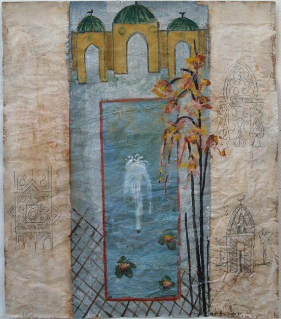 """Uit de serie """"Arabische tuinen"""" no 04 Acryl, olie en potlood/pakpapier 82x70 cm. 2020"""