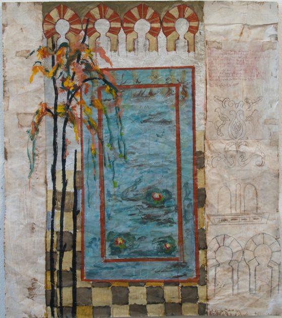 """Uit de serie: """"Arabische tuinen"""" 05 Acryl, olie en potlood/pakpapier 82x70 cm 2020"""