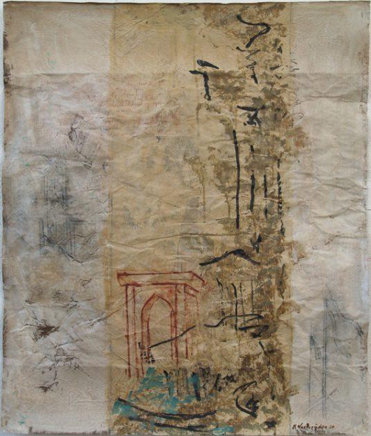 """Uit de serie """"Arabische tuinen"""" no 03 Acryl, olie en potlood/pakpapier 82x70 cm. 2020"""