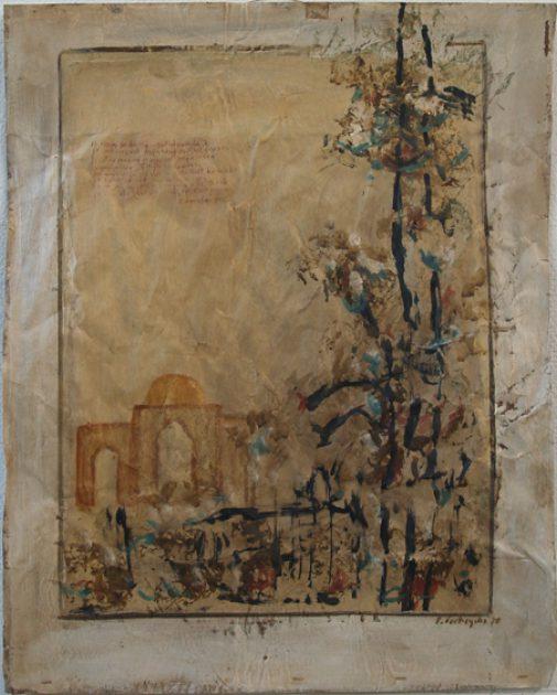 """Uit de serie: """"Arabische tuinen"""" no 01 Acryl, olie en potlood/pakpapier  69x53 cm. 2020"""
