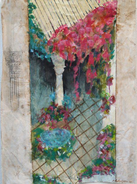 """Uit de serie: """"Arabische tuinen""""   Acryl, olie en potlood/pakpapier 69x53 cm. 2020"""
