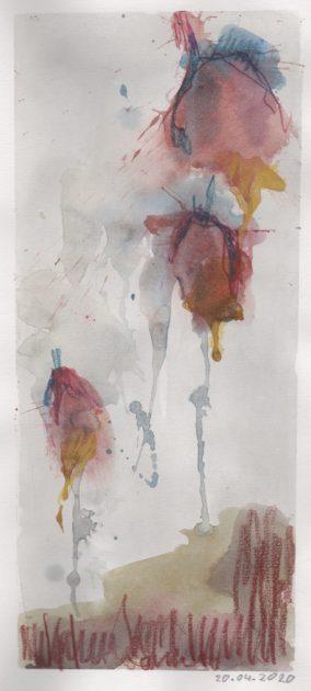 """Uit de serie: """"Onze tuin"""" <br />aquarel en potlood/papier 25x10 cm. 2020"""