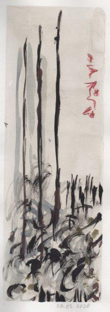 """Uit de serie """"Tuinen"""" gouache en potlood/geschept papier 42,5x32 cm. 2020"""
