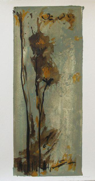 """Uit de serie """"Tuinen""""<br />gouache, inkt en potlood/geschept papier 42,5x32 cm. 2020"""