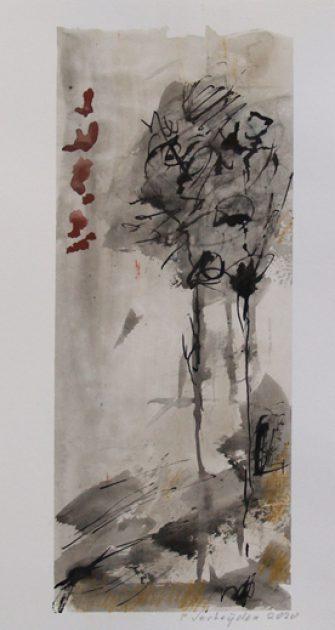 "Uit de serie: ""Onze tuin"" <br />gouache, aquarel, inkt/papier 28x20 cm. 2020"