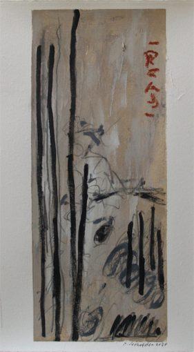 """Uit de serie """"Tuinen"""" <br />gouache en potlood/geschept papier 42,5x32 cm. 2020"""