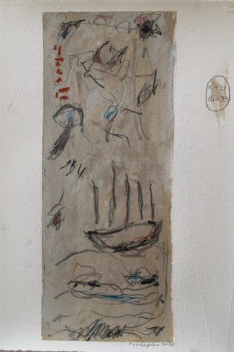 """""""Studie zonder titel"""" gouache en potlood/geschept papier 42,5x32 cm 2020"""