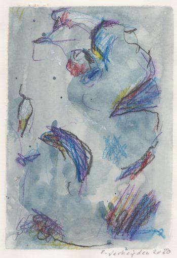 """tekening zonder titel"" potlood +aquarel/papier 29,7x21 cm. 2020"