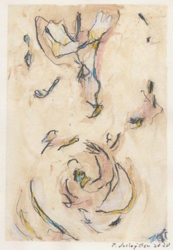 """tekening zonder titel""<br />potlood+aquarel/papier 29,7x21 cm 2020"
