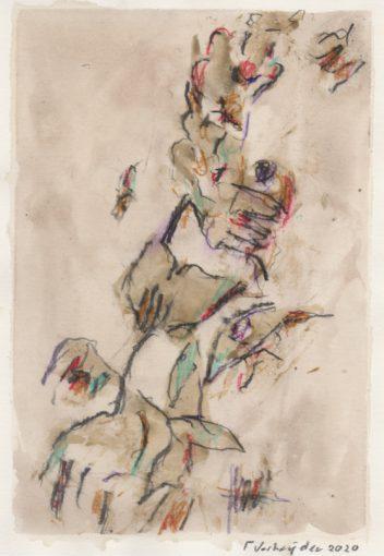 """tekening zonder titel"" potlood+ aquarel/papier 29,7x21 cm 2020"